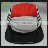 Wholesale Custom Flat Brim Black Camper Caps And Hats Woven Label Logo At Front Panel Leather strap with metal buckle