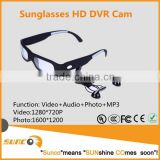 720P hd sport sun glasses safety glasses with camera and MP3 player