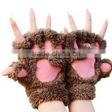 Fashion Women Bear Plush Cat Paw Claw Glove Soft Winter Gloves