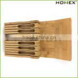 Bamboo Knife Block Knife Storage Tray Fits Standard Drawers Homex BSCI/Factory