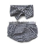 Kids cotton hot boy shorts bloomers baby black white gingham bloomer shorts with headwrap set outfits
