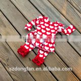 Girls Valentines Day Clothing Sets Red Heart Knit Ruffle Icings Pants And Tops Outfit