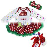 Baby Christmas Bling Santa Colorful Polka Dots Long Sleeves Bodysuit Jumpsuit Pettiskirt Headband Crib Shoes NB-18M