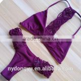 purple hand knitted multi rope swimwear bikini/ shmda halter bikini swimwear/ fancy bikini set swimwear beachwear