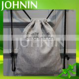 OEM custom logo premium natural linen drawstring shopping bag school bag