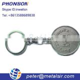 wholesale reusable shopping cart trolley coin keychain, Canadian custom supermarket token coin key holder for promotion
