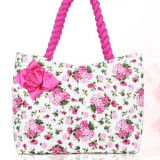 fulll printed cotton fabric quilted bag with rope shoulder