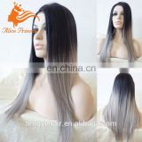 Cheap 8A grade Brazilian hair silk base full lace wig ombre 1b/grey silky straight wig