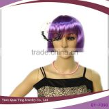 cheap short purple synthetic bob wig