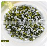 Hot fix green rhinestone 6mm ss30 diamonds flat back with glue strong garments accessories
