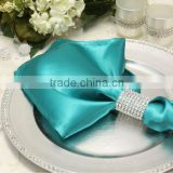 Hot sale, Polyester satin napkin with ring for wedding, jade color