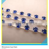 Rhinestone Cup Chain 10mm Sapphire Crystal Silver Claw One Row