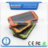 Mobile power supply solar backup power 12000mah solar charger, solar power bank for ipad