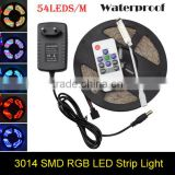 3014 LED Strip RGB 54Led/m Waterproof Led Diode Tape Ribbon + 10Key RF Controller + 2A Power Adapter For Home Garden Decoration