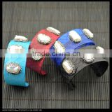 LFD-B0013 Wholesale New Style Mixed Color Snakeskin with Pearl Pave Rhinestone Bangles Jewelry Finding