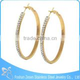 ZS17120 Fashion lady surgical steel gold plated crystal huggie earring ellipse big earrings