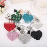 High Quality PU Crystal Heart Shape Keychain Valentine's Day Lovelry Gift Women Bag Accessories Fashion Jewelry