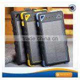 AWC939 For iphone 5 Charger with Camping Light Waterproof 1.5W Portable Solar Panel Charger Dual USB 2.1A 8000mah Power Bank