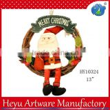 Wholesale Christmas Wreath Decorations, Door Decoration Rattan Christmas Wreath Santa with Wooden
