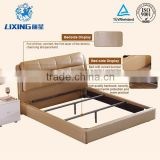 French Style Solid Wood Frame Leather Bed for Bedroom Furniture
