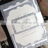 2016 high quality silver glitter paper with silver writting royal invitation cards for wedding