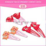 custom girls hair accessories resin red heart and bow shape fancy french barrette hair clips wholesale