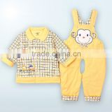 Baby boys woven overalls Long Sleeve top Suit Kids Set Fashion 2 PCS autumn Children Clothing