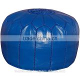 Wholesale of Moroccan navy blue leather Pouffe Ottoman Footstool Pouffe handstitched Ottomans