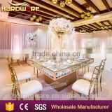 stainless steel base hotel dining table crystal frame golden banquet table