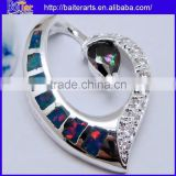 925 Sterling Silver Pendant Necklace Black Fire Opal Heart Pendant Opening
