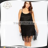 Fringes Summer Dresses 2016 For Women Black Spaghetti Strap Custom Design