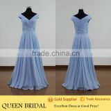 Real Sample Cap Sleeve Floor Length Chiffon Evening Dress In China