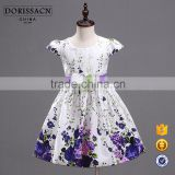 OEM/ODM cotton girl dress with lovely rose pattern slim design                                                                         Quality Choice