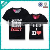 Cotton printing t-shirt for lover , cute couple t-shirt designs , unisex design couple t-shirt (lyt0300070)