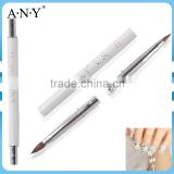 ANY White Metal Handle Two Way Metal Nail Acrylic Brush Pure Sable