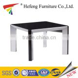 black tempered glass luxury coffee table /End table with aluminum legs