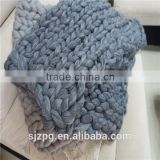 Super chunky knitted wool blanket grey color Merino Wool Blanket                                                                                                         Supplier's Choice