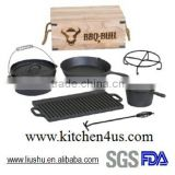 FDA SGS certificated 7 pcs cast iron Dutch oven camping set