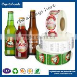 Bottle sticker, Custom waterproof juice honey soft driink glass transparent beer bottle labels, Beer label printing size                                                                         Quality Choice