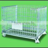 foldable grille box,collapsible wire mesh cage,Foldable storage cage,stackable mesh box,galvanized wire mesh cage