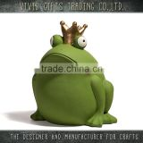 Ceramic or Porcelain frog with gold crown sitting animal garden decoration