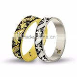14K Solid Gold Art Design His Her Wedding Band Daisy Custom Engrave Set Ring