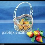 White heart shaped storage wire latest design fruit basket decorative with red pearl