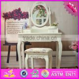 2016 wholesale fashionable white wooden makeup vanity table with mirror W08H060