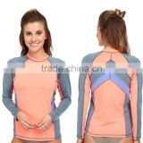 Swimwear Sexy Wholesale Color Block Surf Rashguard Tee Long Raglan Sleeves Private Label Bulk Swimwear Manufacturer