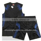 Cheap custom black and blue basketball uniform, sleeveless young fashion track suit