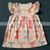 latest cute fox printed children dresses remake new style fashion girl frock design in summer