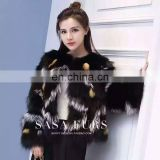 Round collar black fox fur coat, blue fox red fox silver fox fur mixed fashion short size coat S M L
