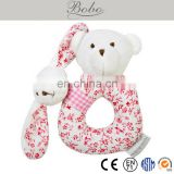 BE140115-D 15cm soft plush stuffed baby ring rattle, plush stuffed bear baby wrist rattle