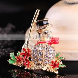 clothes decoration crystal rhinestone christmas snowman brooch